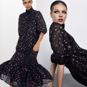 NWT Zara Voluminous PolkaDot Ruffle Hem Midi Dress